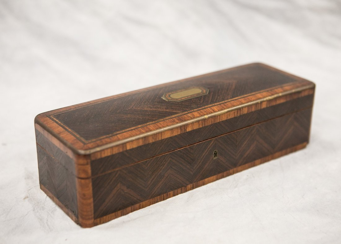 Rosewood and kingwood inlaid dresser box, 3 compartment - 2