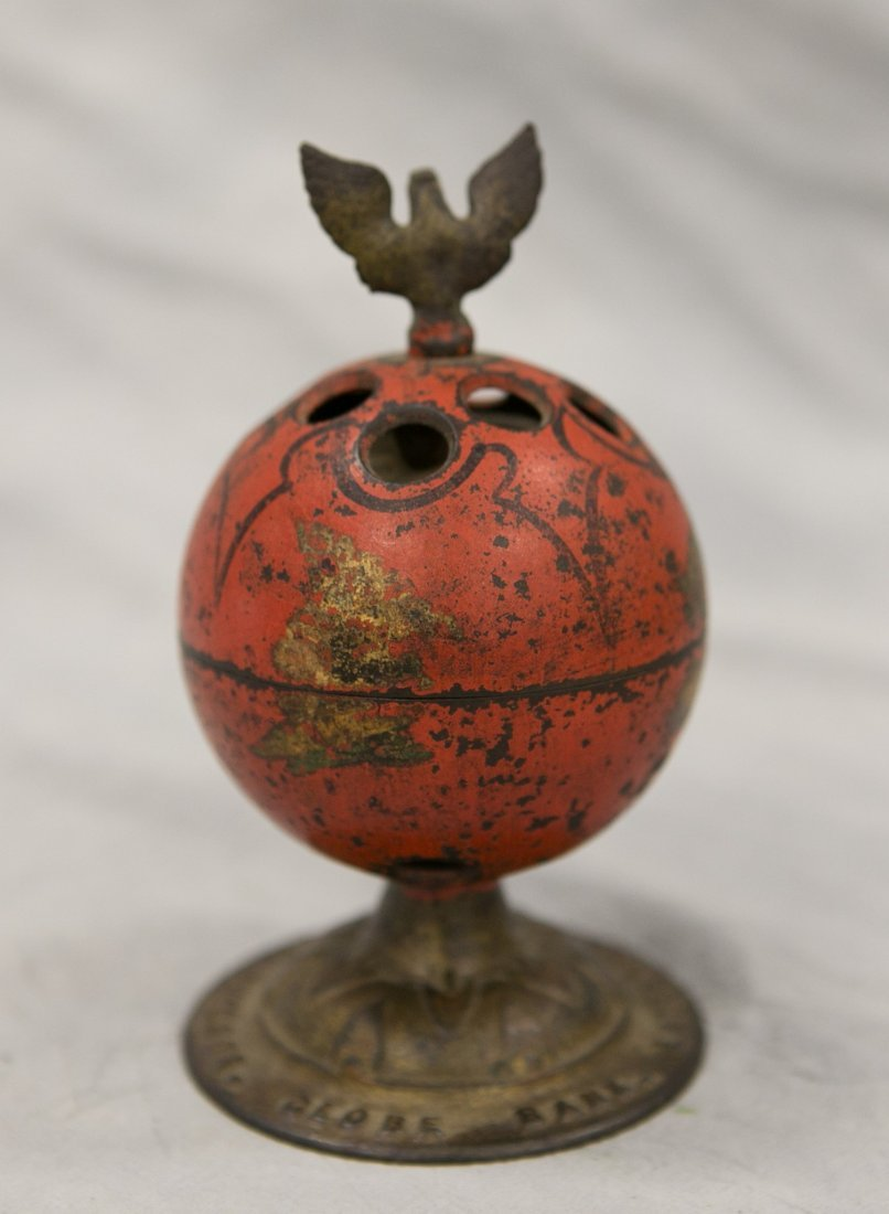 Painted cast iron bell & globe still bank, Enterprise - 2