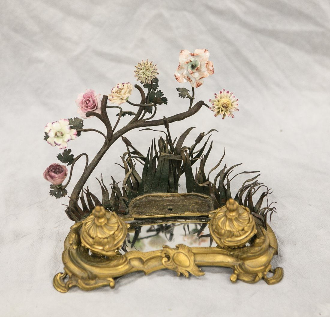 French porcelain and Ormolu inkstand, mirrored top