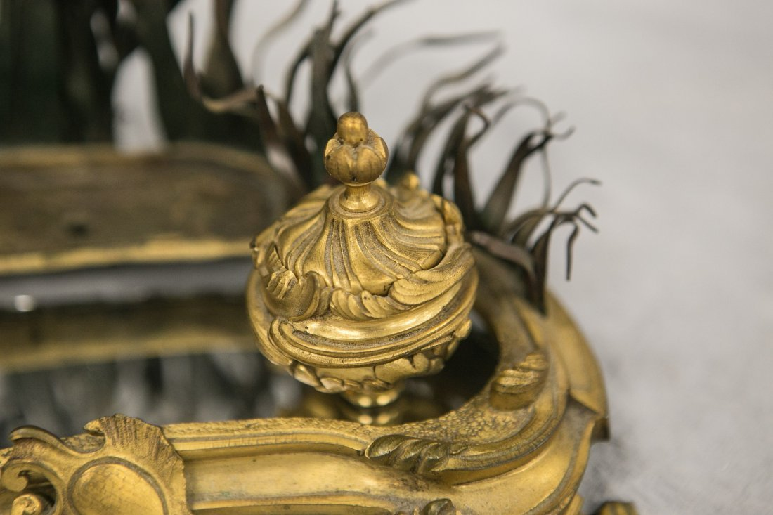 French porcelain and Ormolu inkstand, mirrored top - 3