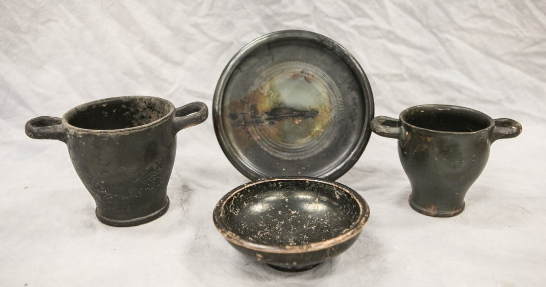 (4) Pieces Hellenistic black glazed pottery, 2nd-1st