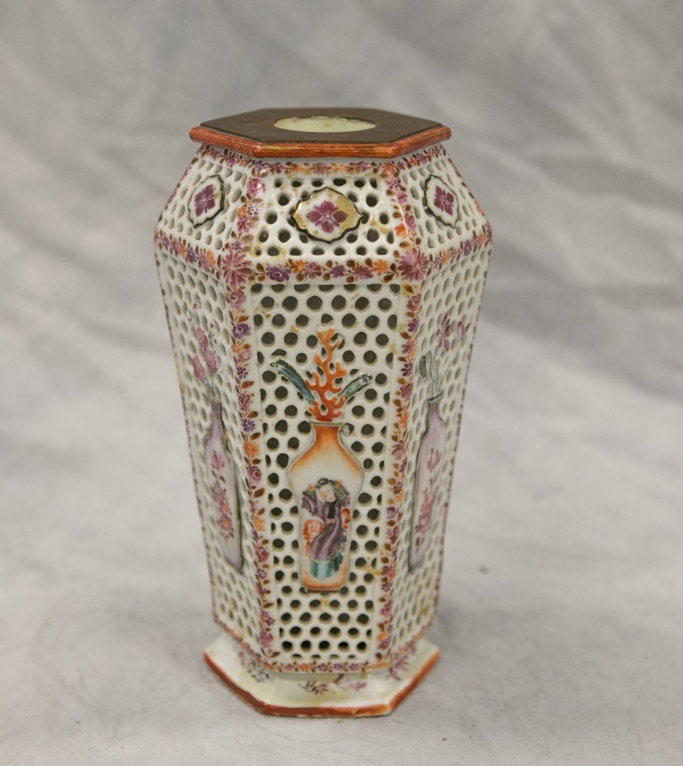 Chinese Export hexagonal-form reticulated double walled