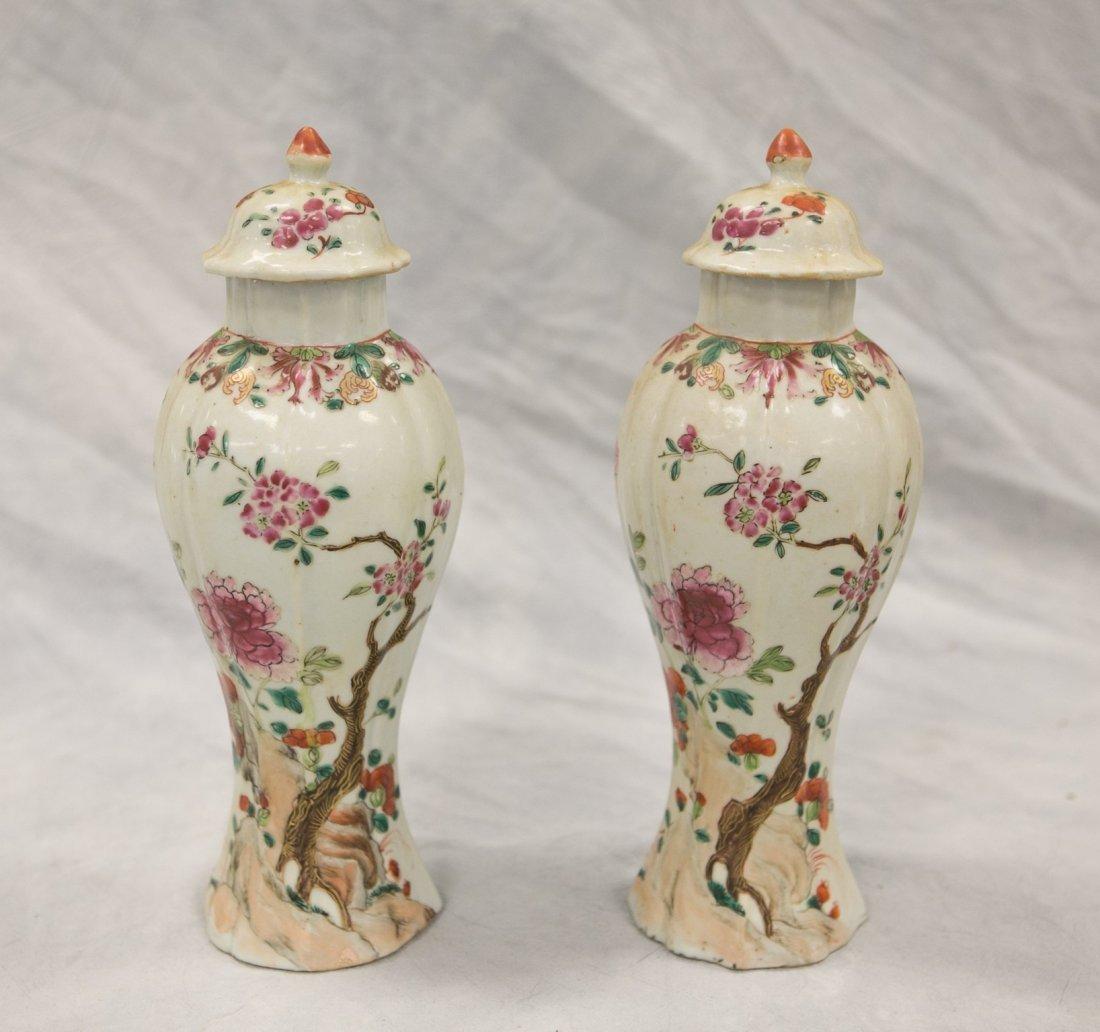 Pr Chinese Famille Rose porcelain baluster form urns
