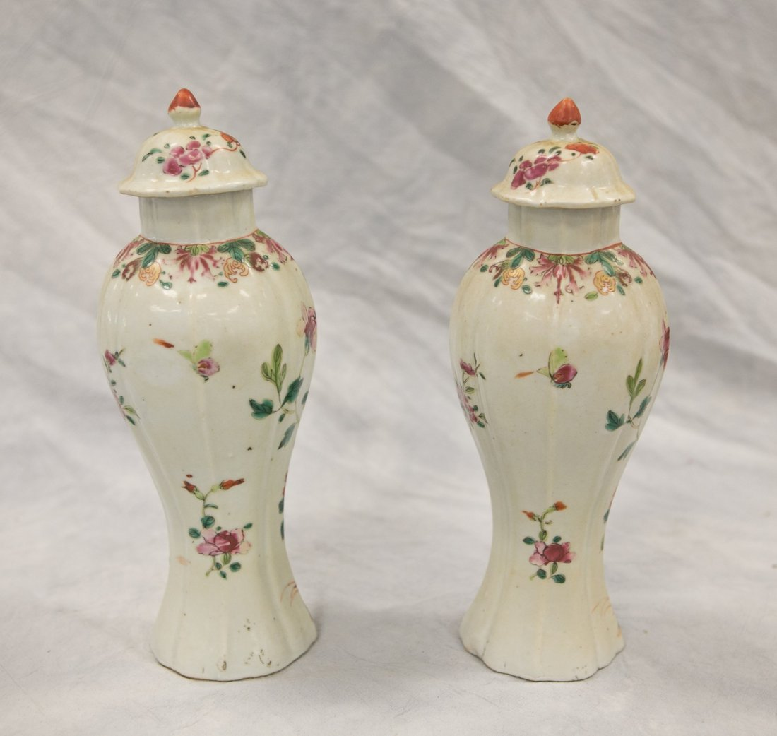 Pr Chinese Famille Rose porcelain baluster form urns - 2