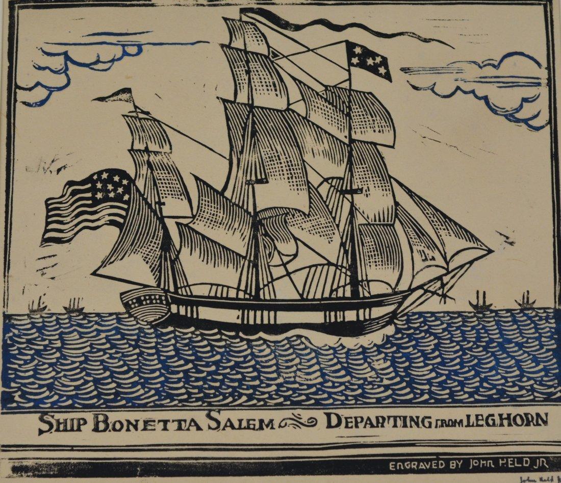 John Held Jr (American, 1889-1958), color linocut, Ship