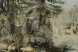 American School (19th Century), oil on canvas, Hunters