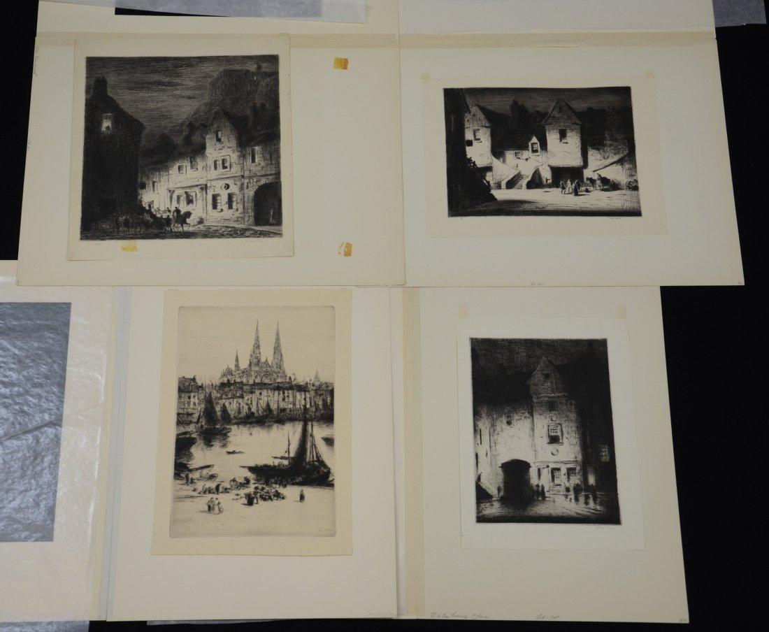 (4) Joseph Gray (English,1890-1962), etching, Street