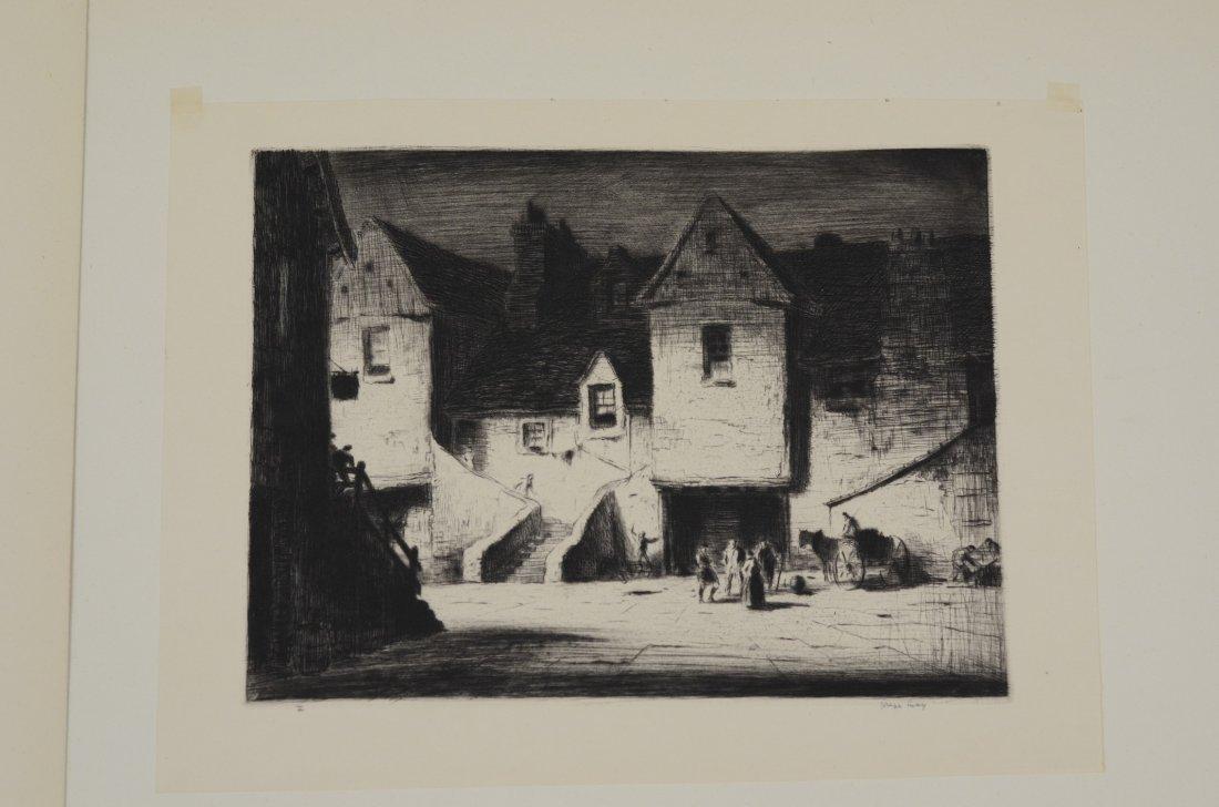 (4) Joseph Gray (English,1890-1962), etching, Street - 2