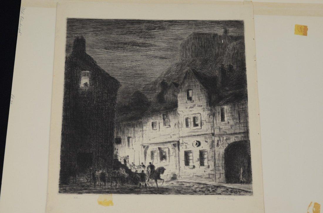 (4) Joseph Gray (English,1890-1962), etching, Street - 3