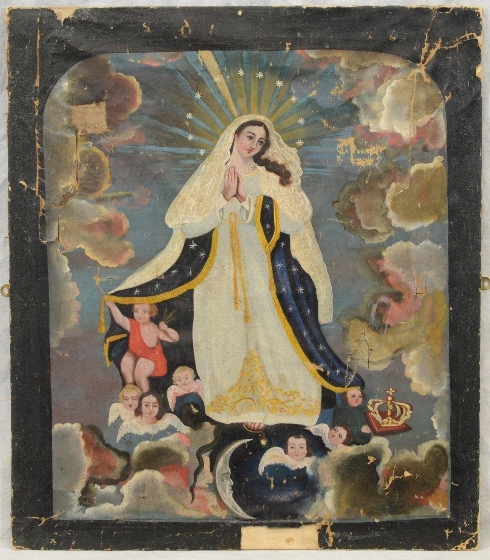 Mexican School (19th Century), oil on canvas, La Virgen