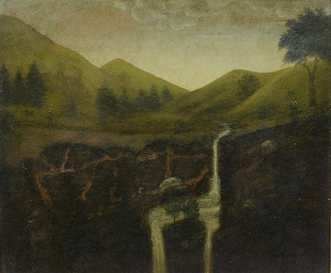 American School (19th Century), oil on board, Mountain