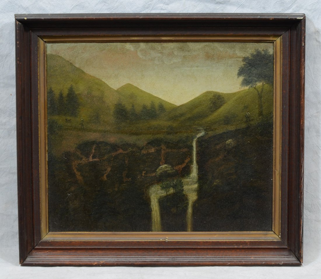 American School (19th Century), oil on board, Mountain - 2
