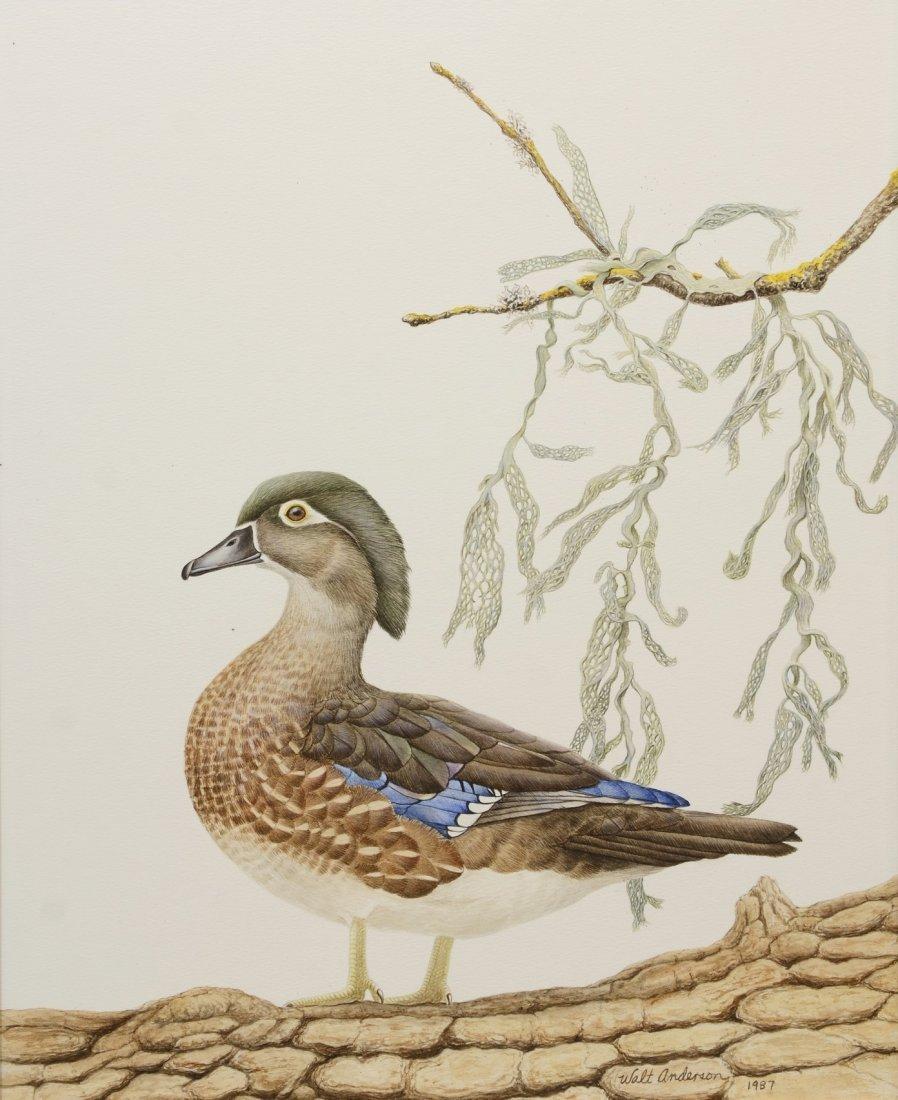 Walt Anderson (American, 1903-1965), watercolor, Duck