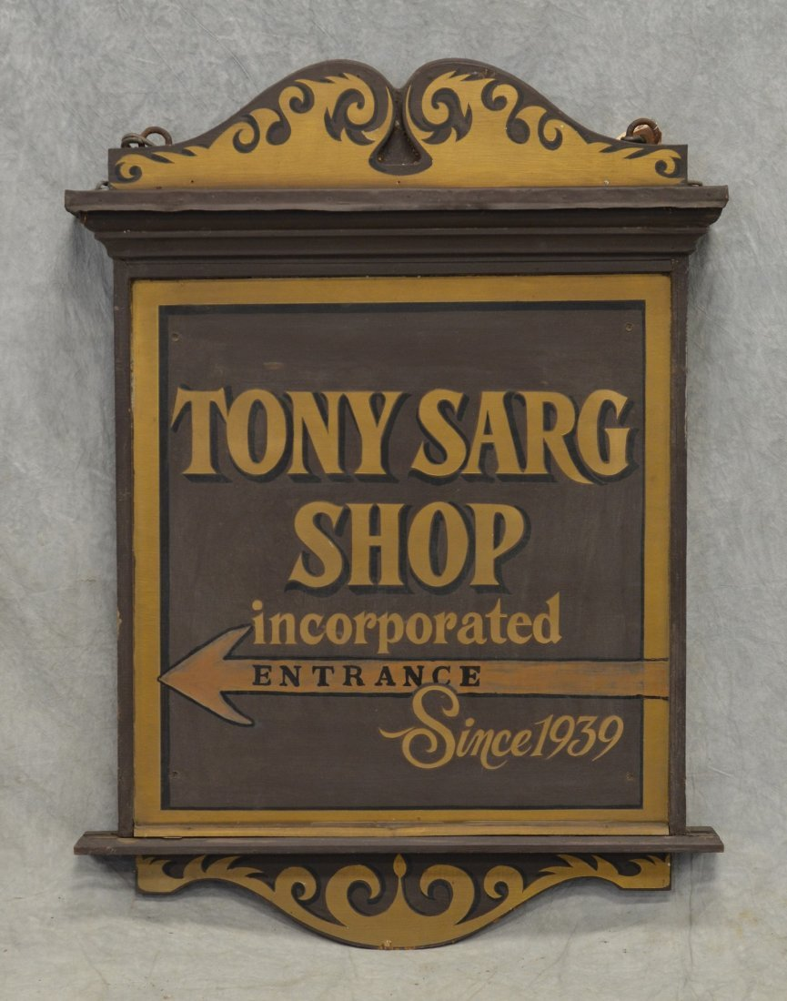 "Double sided painted wood trade sign, ""Tony Sarg Shop /"