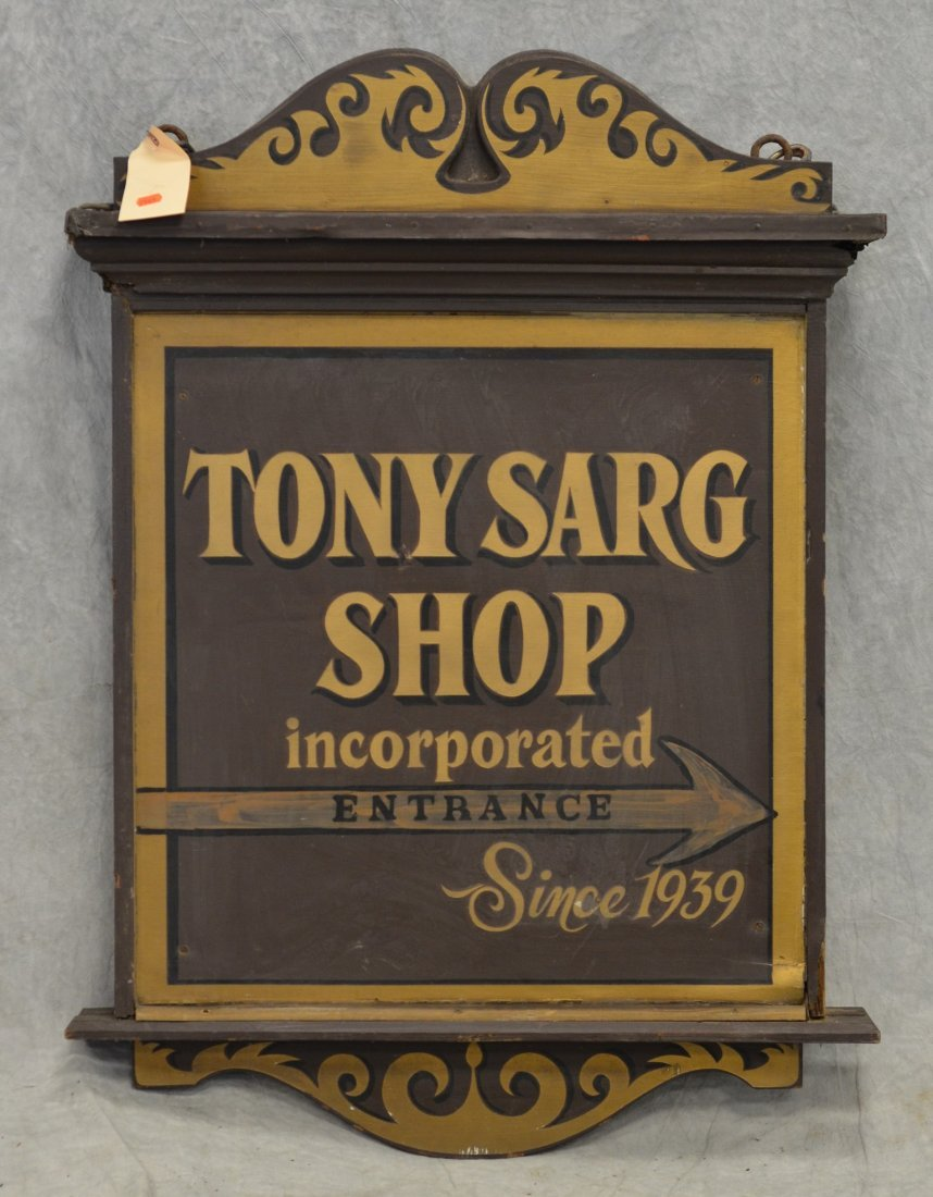 "Double sided painted wood trade sign, ""Tony Sarg Shop / - 2"