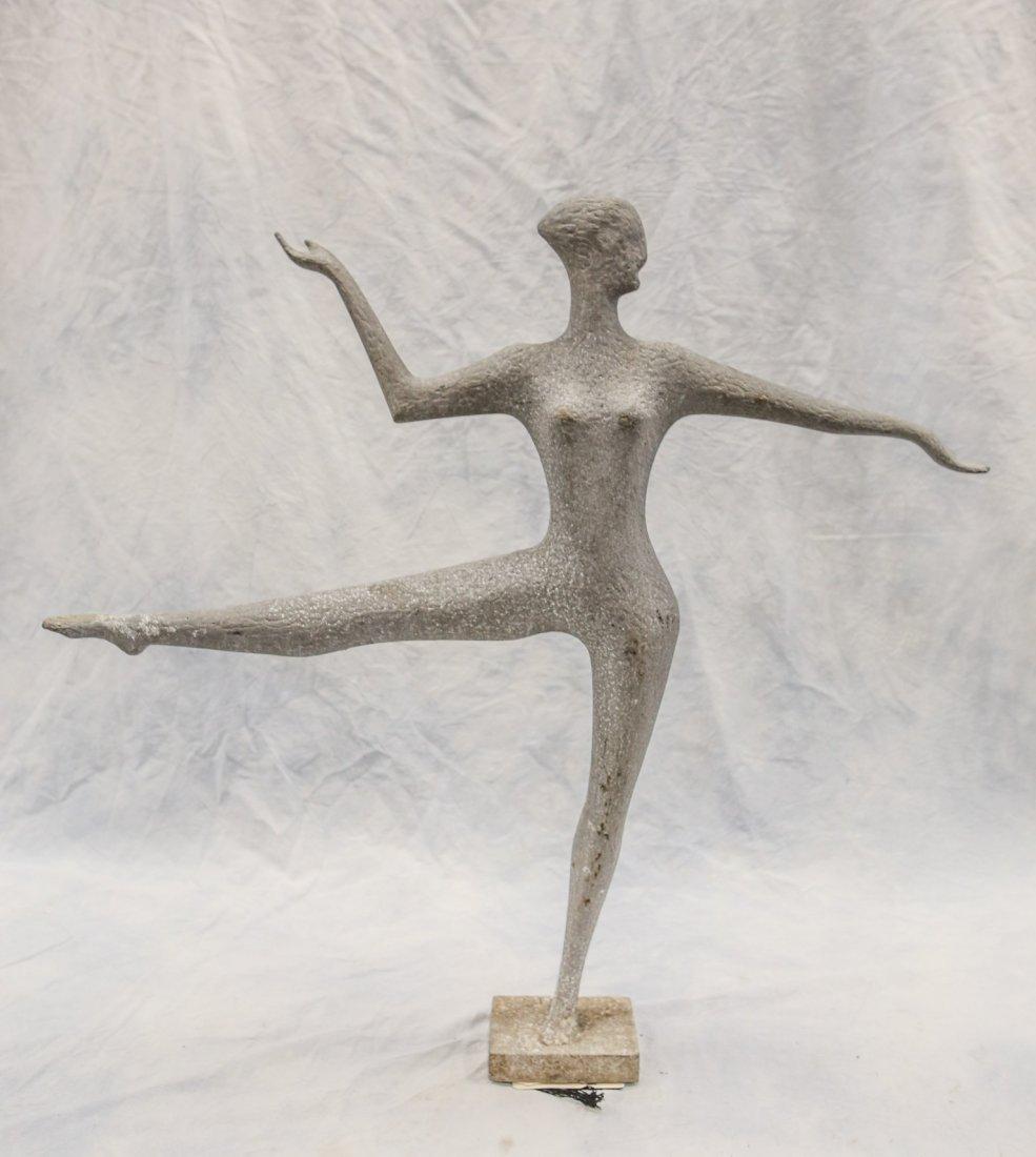 "Cast aluminum sculpture, ballet dancer on point, 32"""