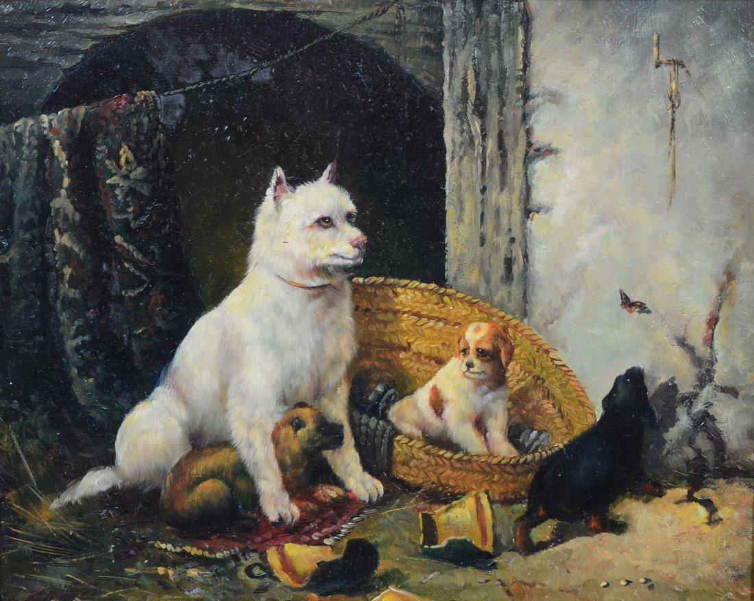 British School (19th Century), oil on wood panel, Dog
