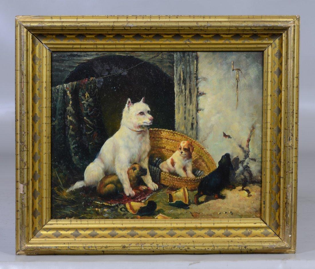 British School (19th Century), oil on wood panel, Dog - 2