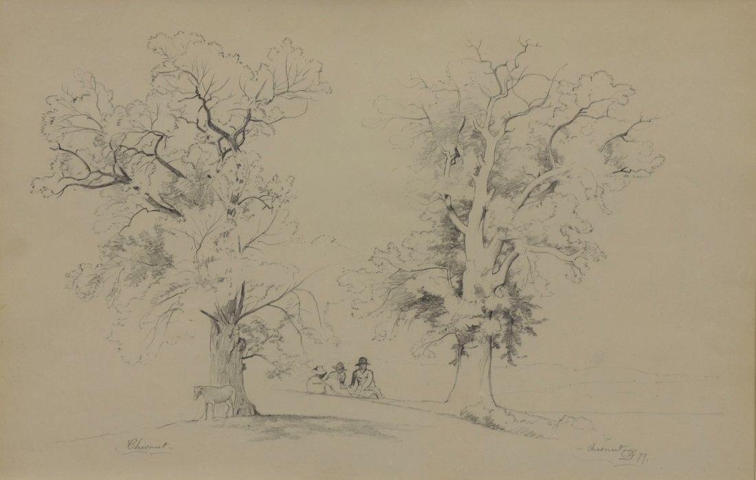 David Johnson (American, 1827-1908), graphite on paper,