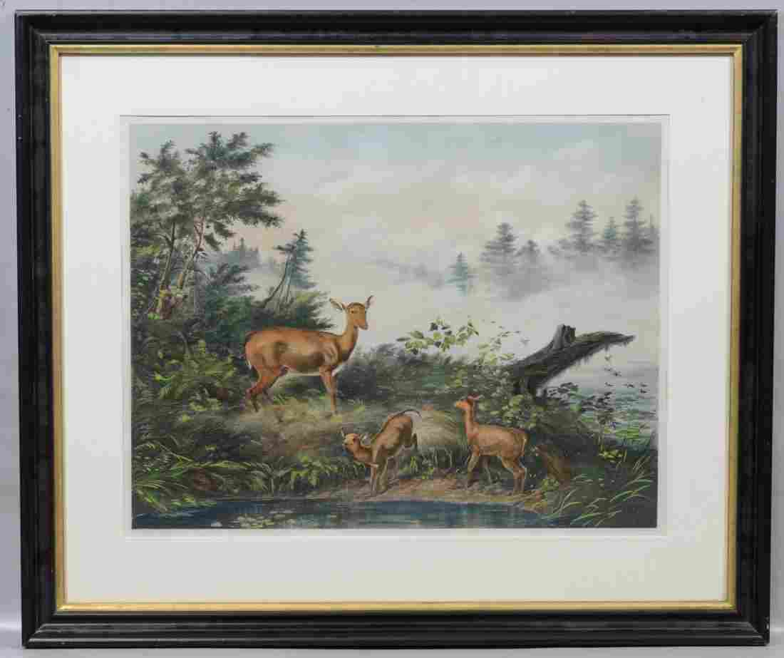 """Currier & Ives Lithograph, After A. F. Tait, """"Morning"""