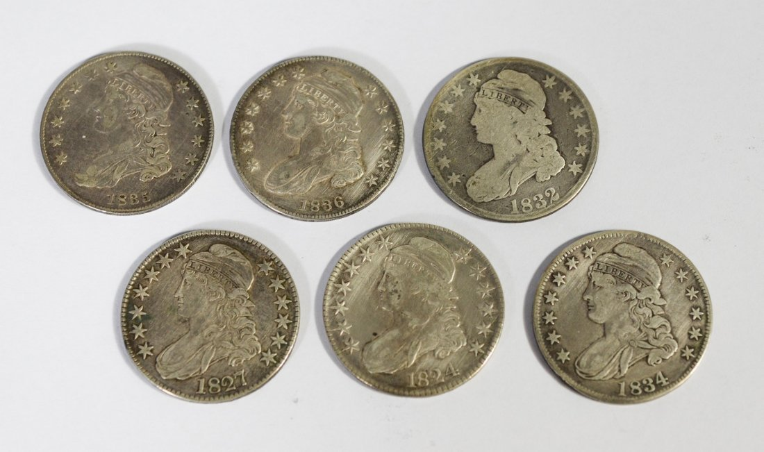 (6) Capped Bust silver half dollars, 1824, 1827, 1832,