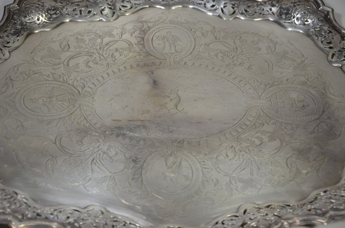 Ornate oval scalloped and pierced  plated silver - 2
