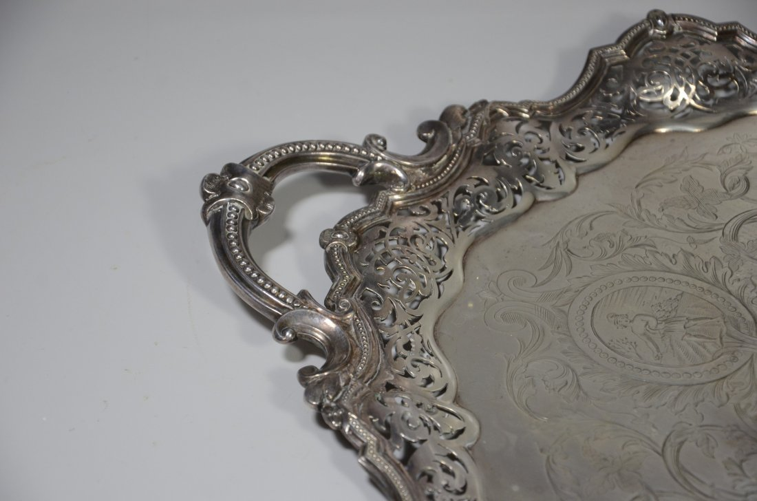 Ornate oval scalloped and pierced  plated silver - 3