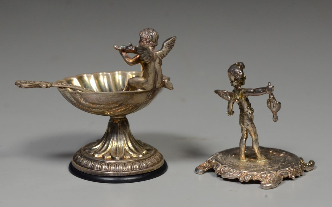 (2) Sterling silver pieces, cherub figurine, Plata - 2