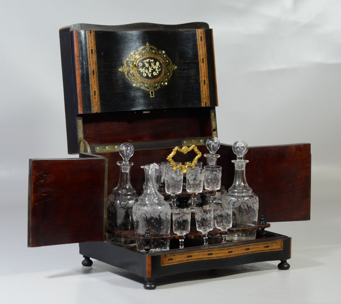 French tantalus set, boulle style inlay, mother of