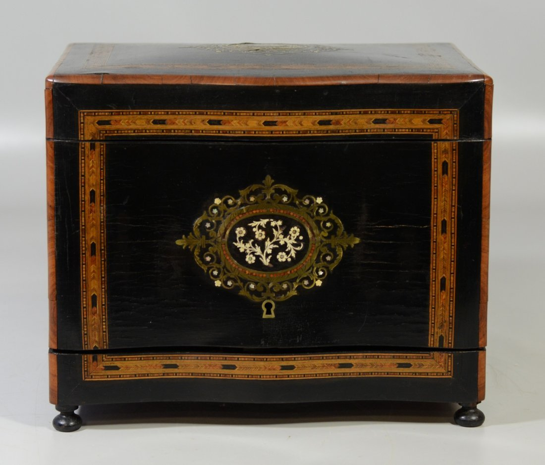 French tantalus set, boulle style inlay, mother of - 3