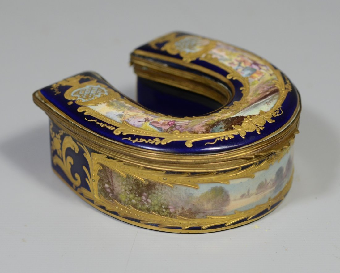 Horseshoe shaped gilt decorated cobalt Sevres type - 2