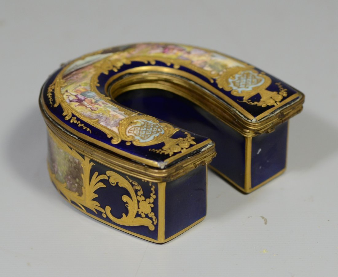 Horseshoe shaped gilt decorated cobalt Sevres type - 4