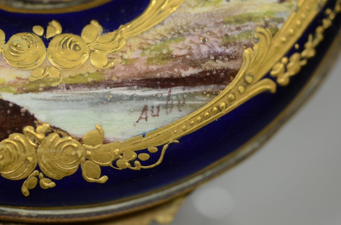 Horseshoe shaped gilt decorated cobalt Sevres type - 7