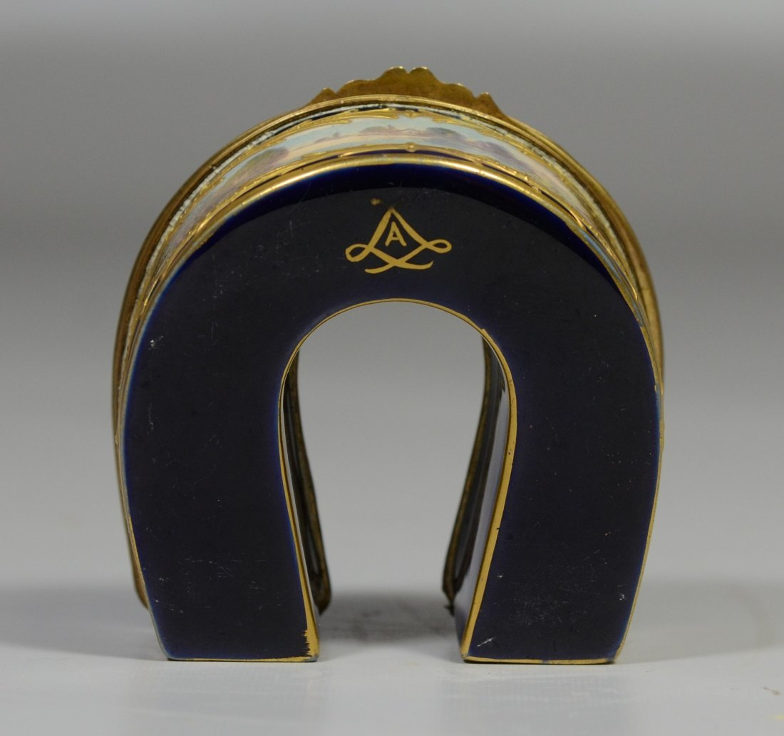 Horseshoe shaped gilt decorated cobalt Sevres type - 8