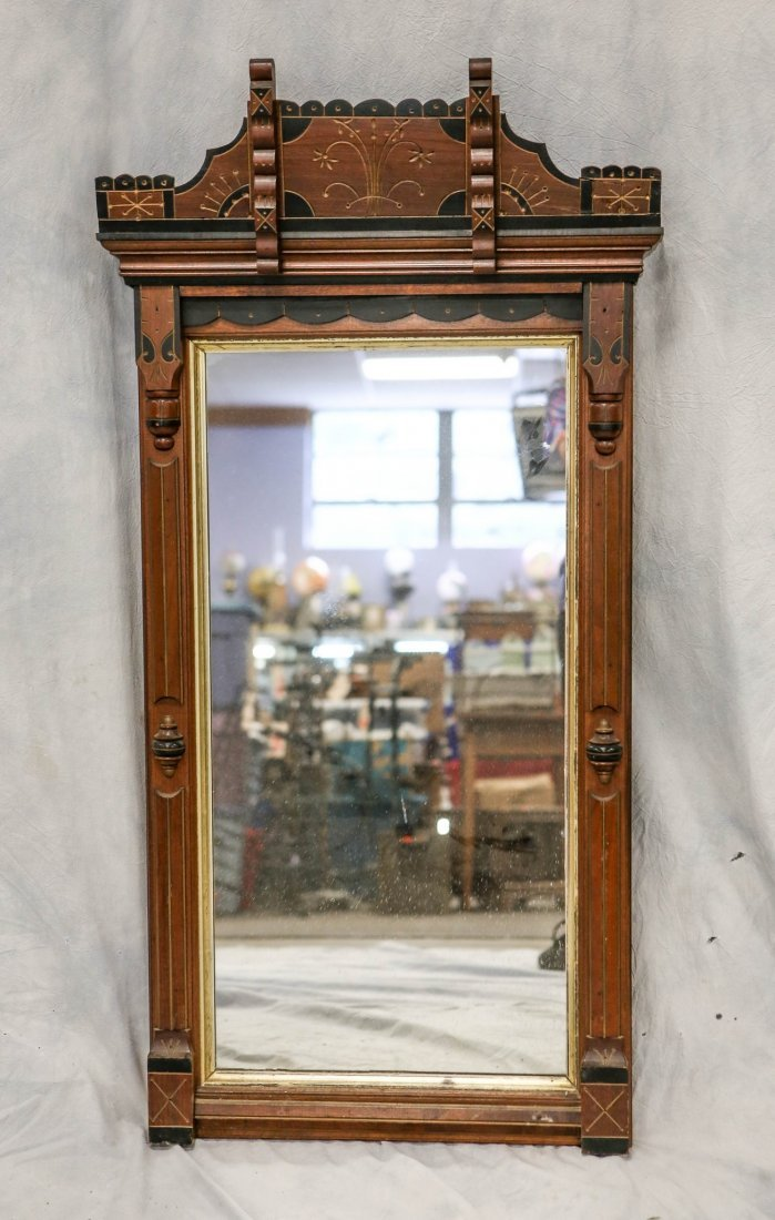 Walnut Victorian Eastlake wall mirror with gilt &