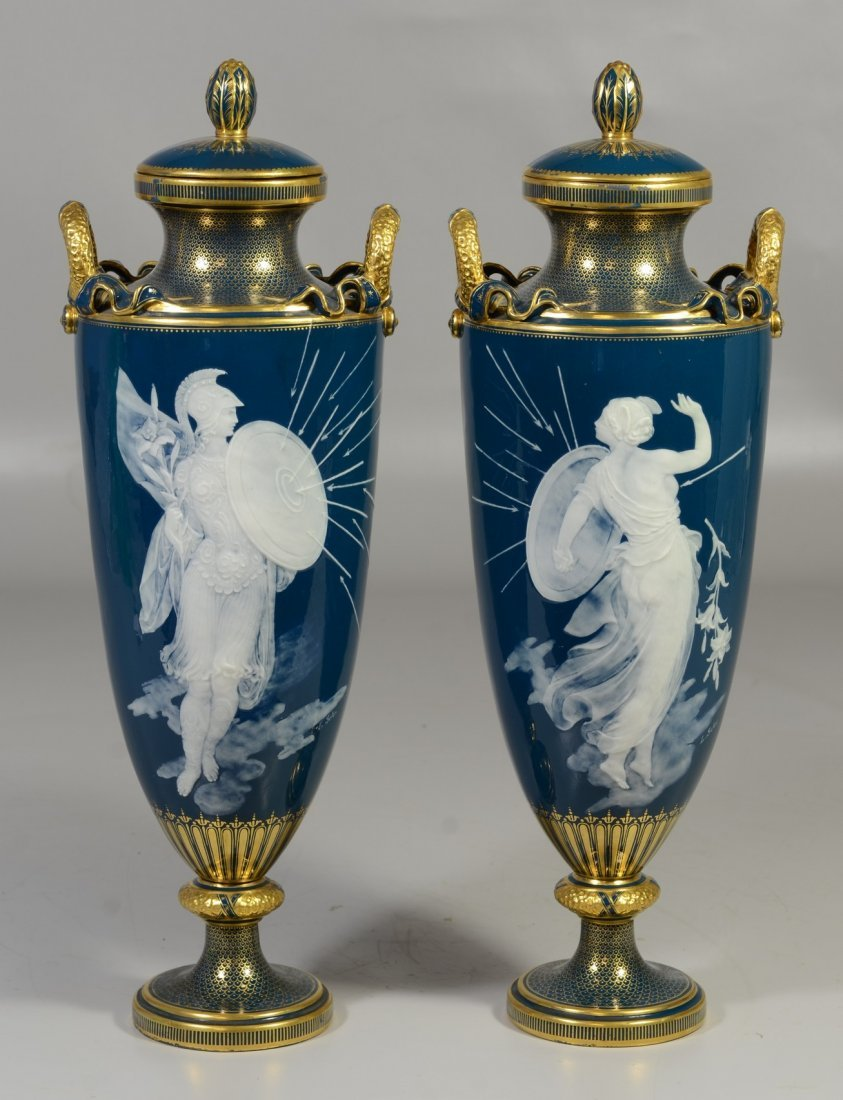 Pair of Mintons Louis Solon Decorated Pate-sur-Pate