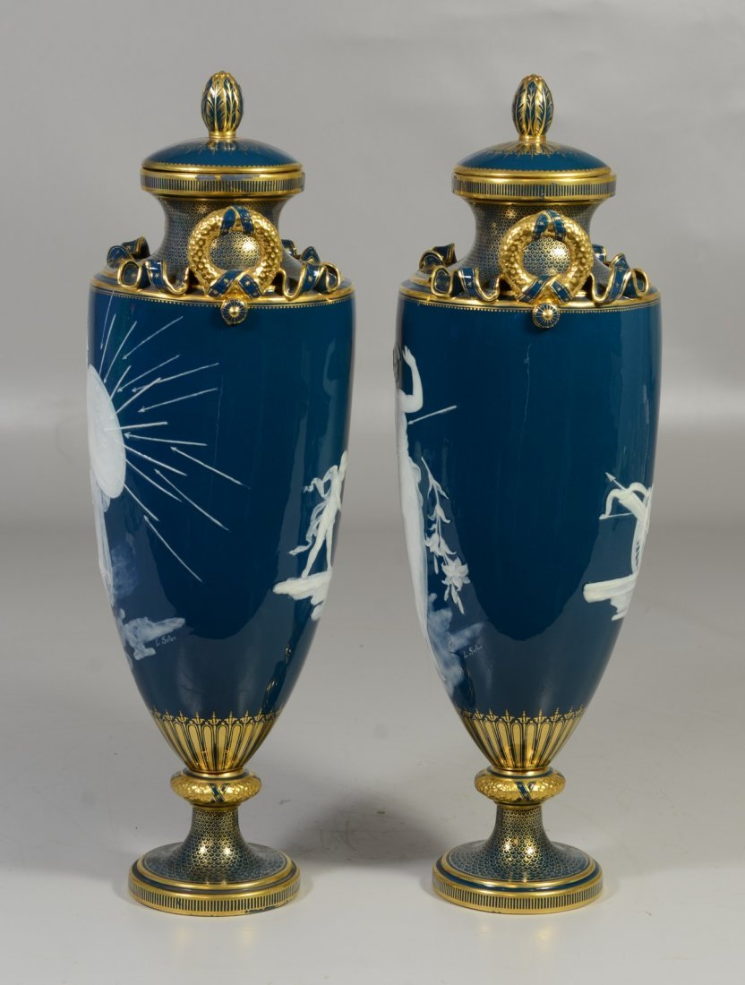 Pair of Mintons Louis Solon Decorated Pate-sur-Pate - 2
