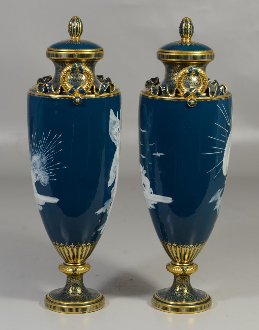 Pair of Mintons Louis Solon Decorated Pate-sur-Pate - 4