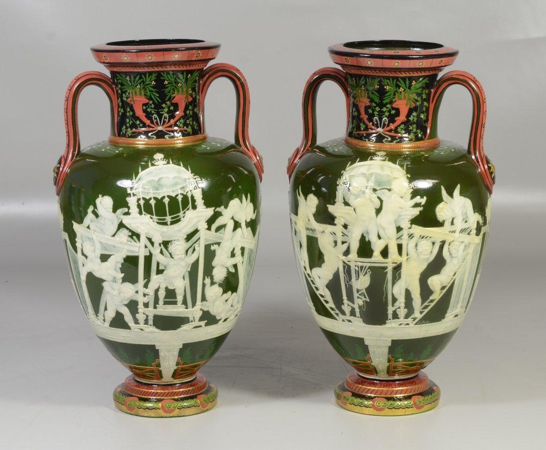 Pair of Mintons Louis Solon Decorated Pate-sur-Pate