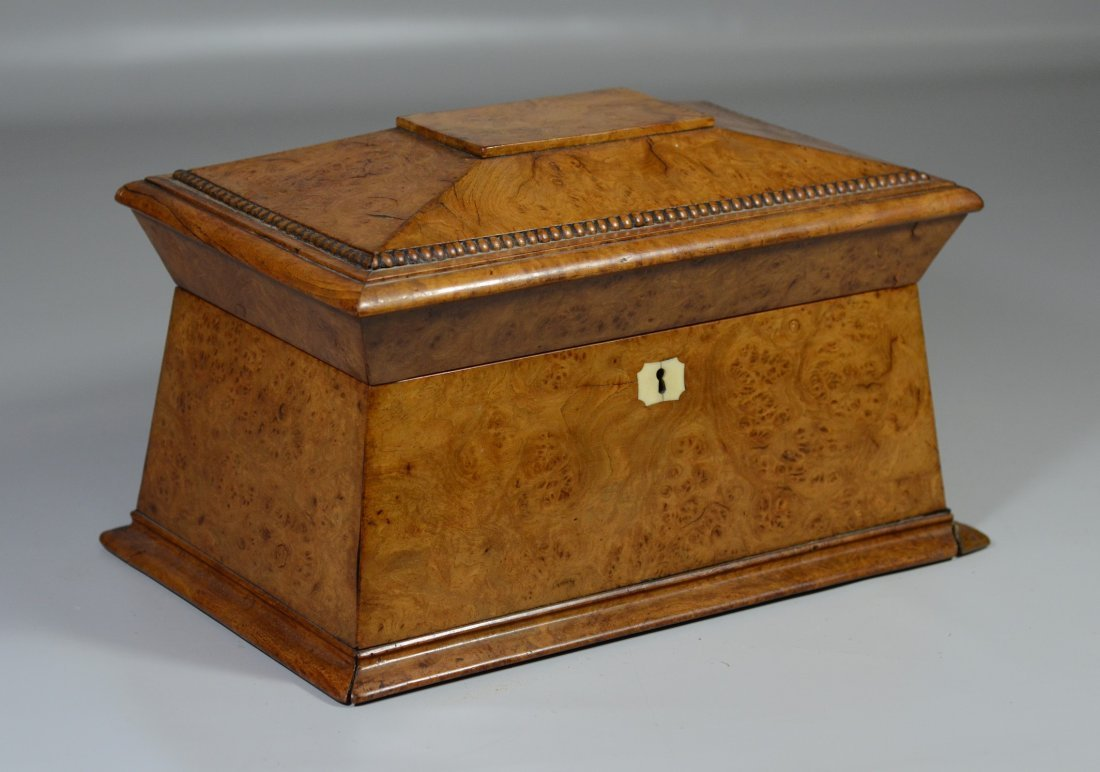 Regency burlwood sarcophagus form tea box, the interior