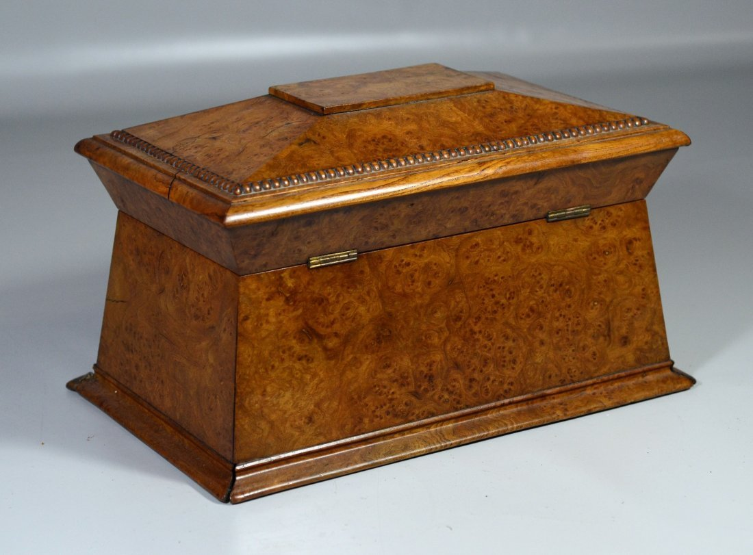 Regency burlwood sarcophagus form tea box, the interior - 2