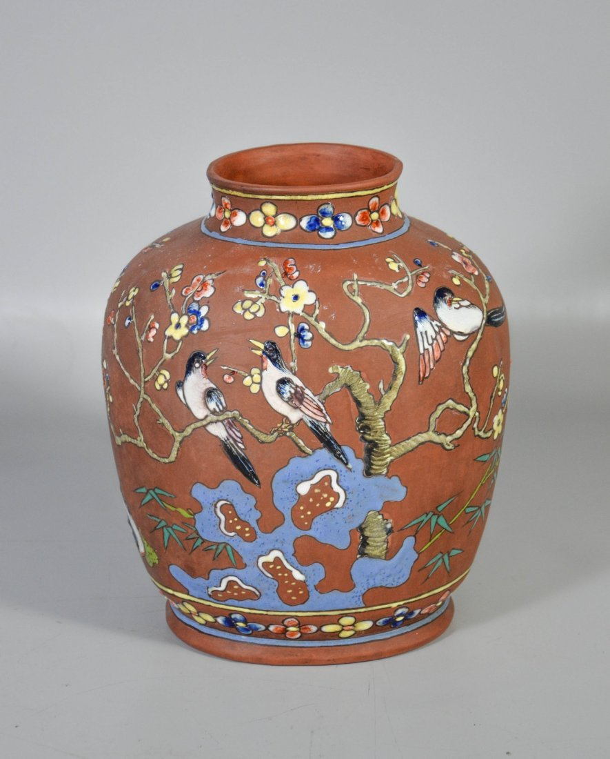Chinese enameled terra cotta vase, decorated with
