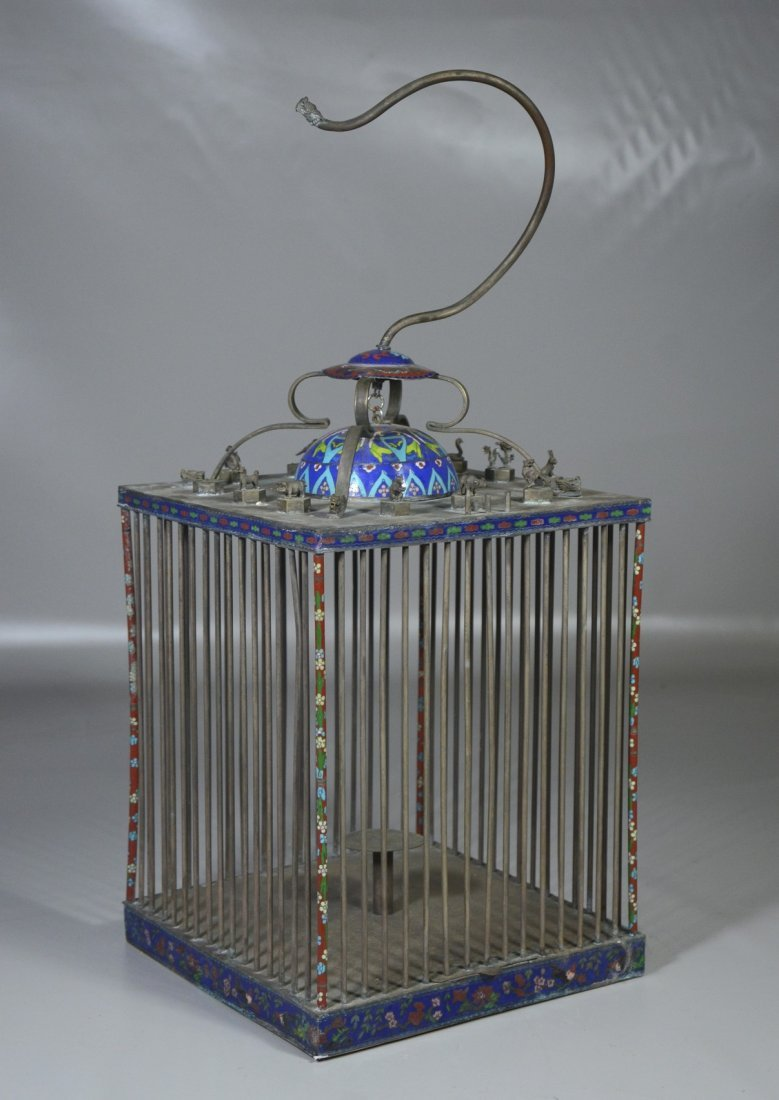 Chinese brass & cloisonne bird cage with miniature