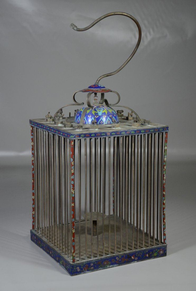 Chinese brass & cloisonne bird cage with miniature - 2