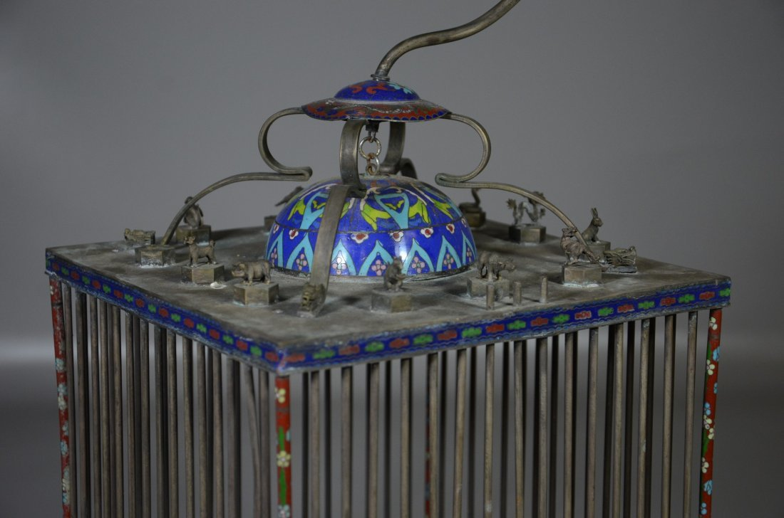 Chinese brass & cloisonne bird cage with miniature - 3