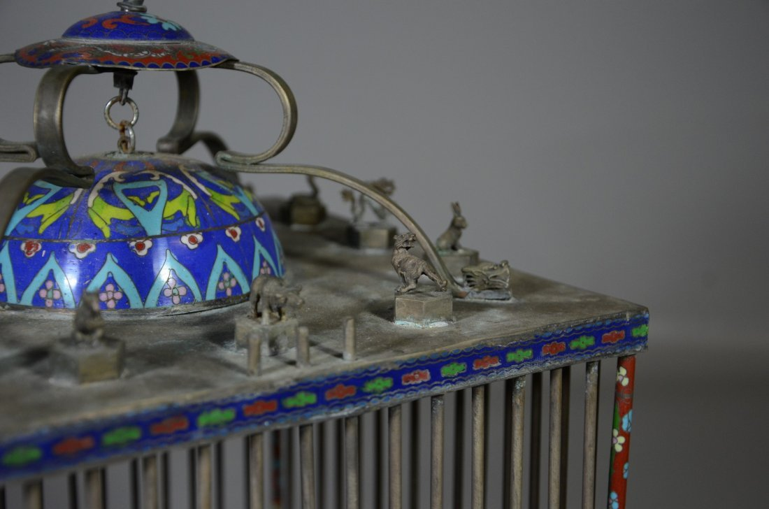 Chinese brass & cloisonne bird cage with miniature - 4
