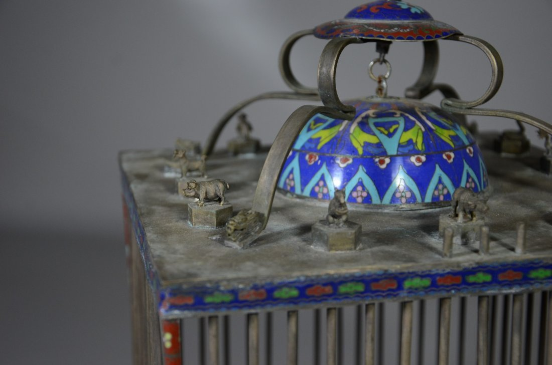 Chinese brass & cloisonne bird cage with miniature - 5