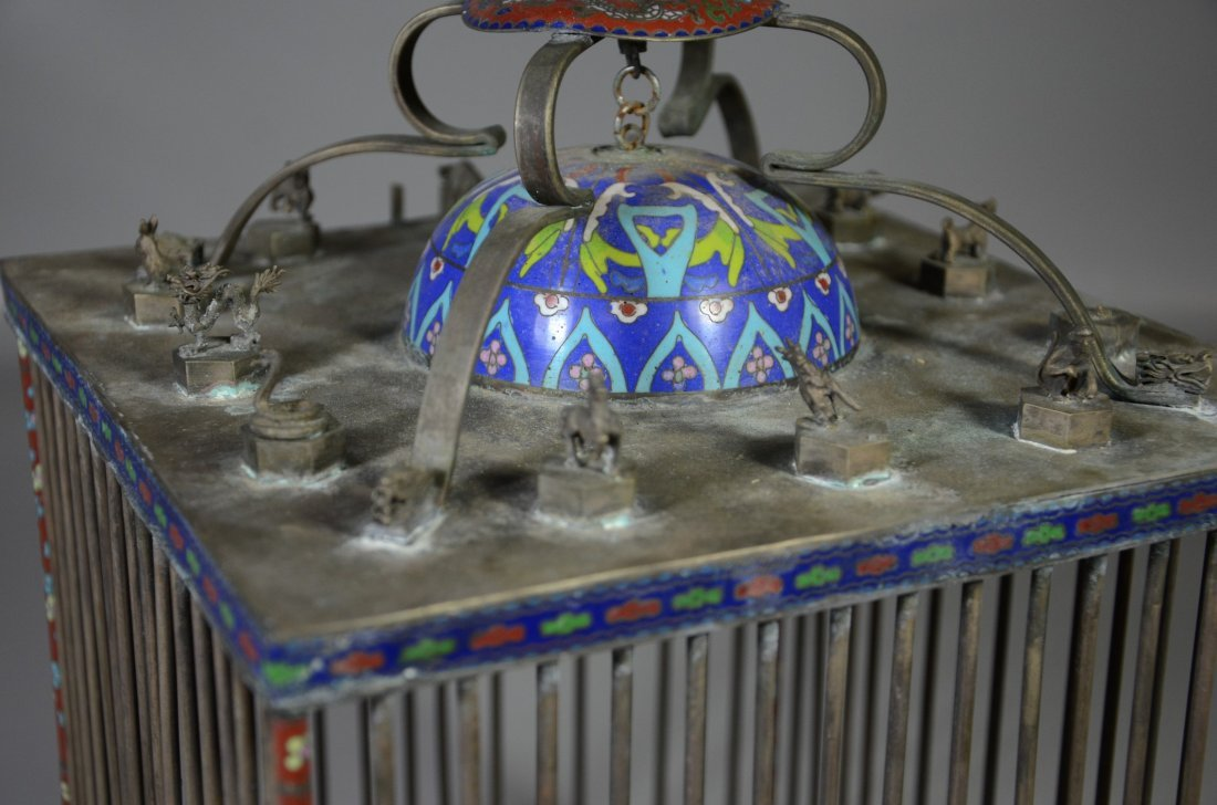 Chinese brass & cloisonne bird cage with miniature - 7