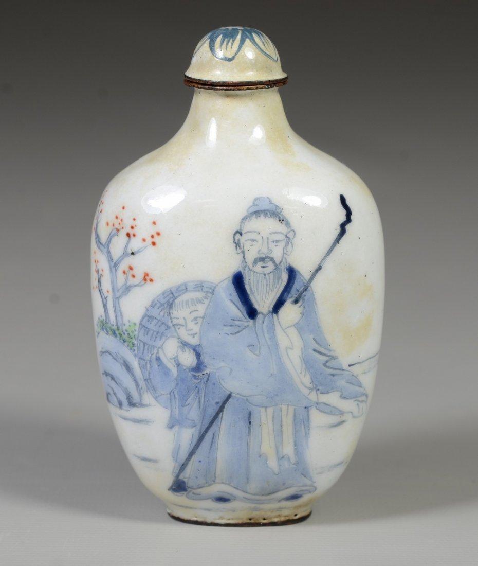 Chinese Peking enamel snuff bottle, 2 elders with