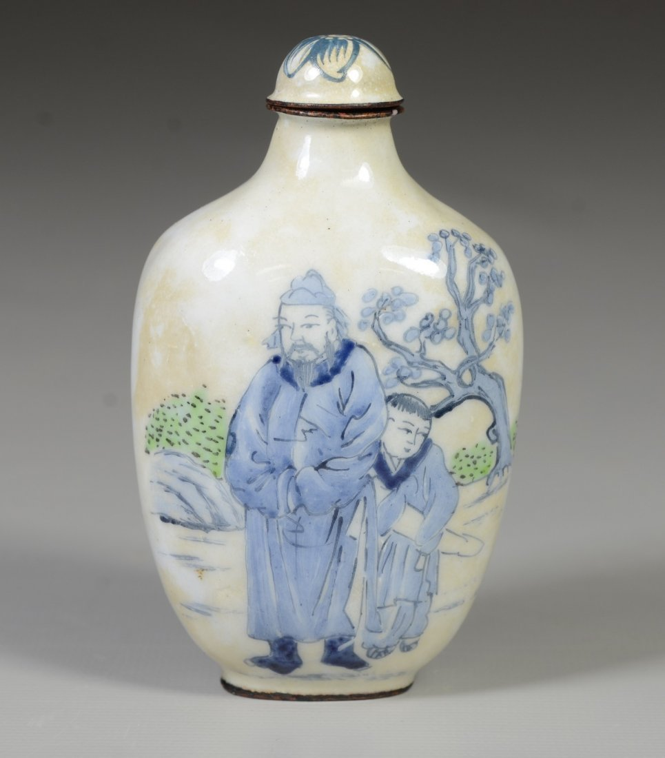 Chinese Peking enamel snuff bottle, 2 elders with - 2